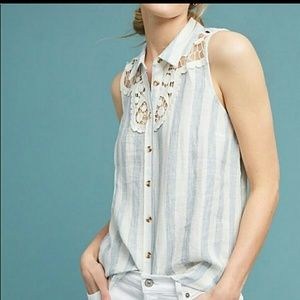Maeve Anthropologie linen top sleeve size M